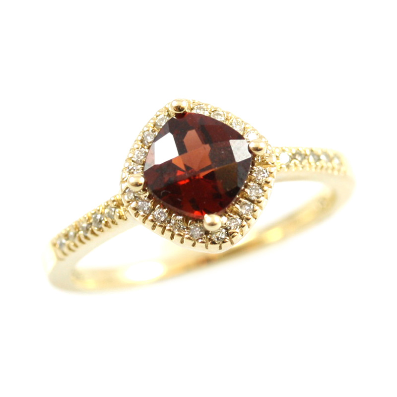14 karat yellow gold diamond and garnet ring.
