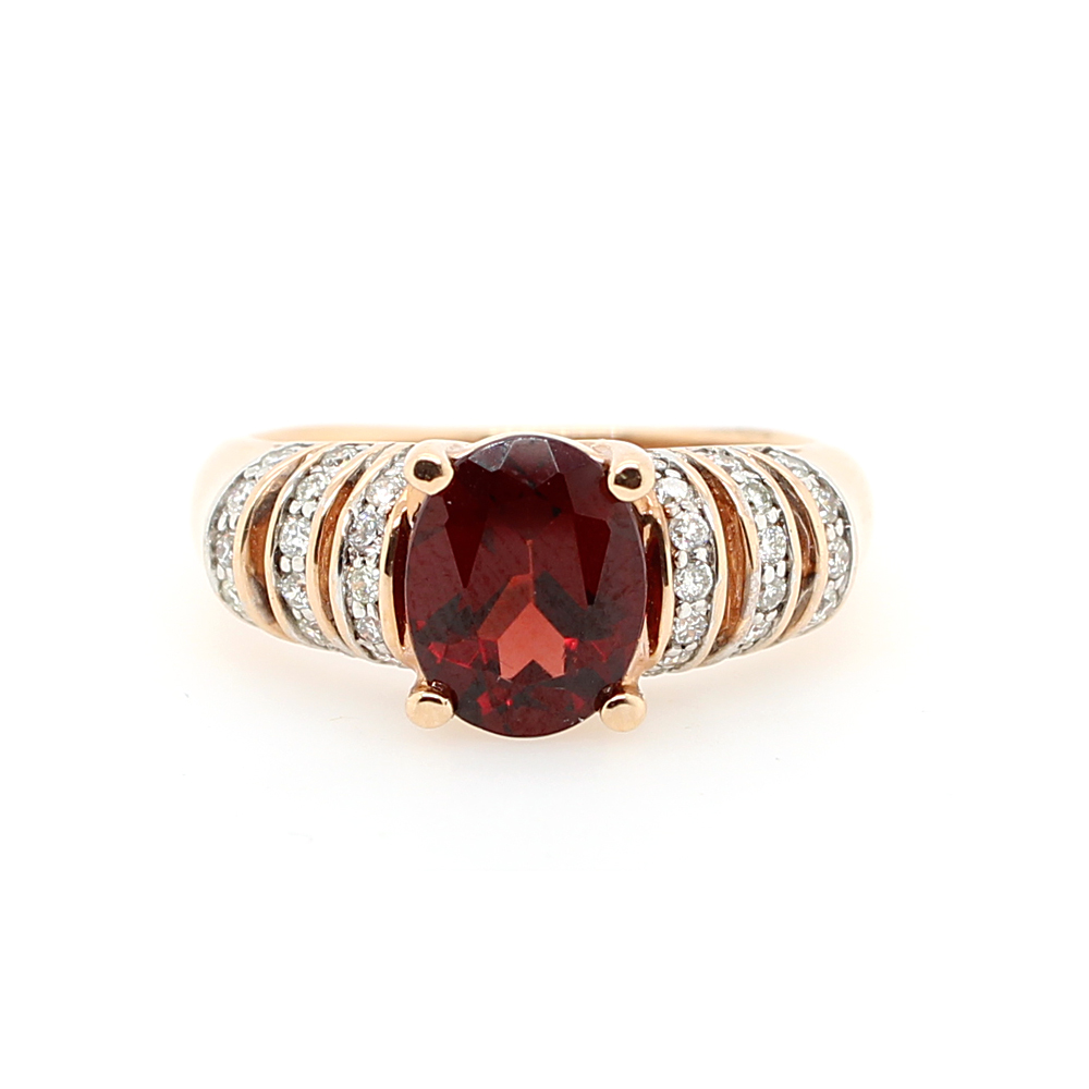 Ryan Gems 14 Karat Yellow Gold Garnet and Diamond Ring