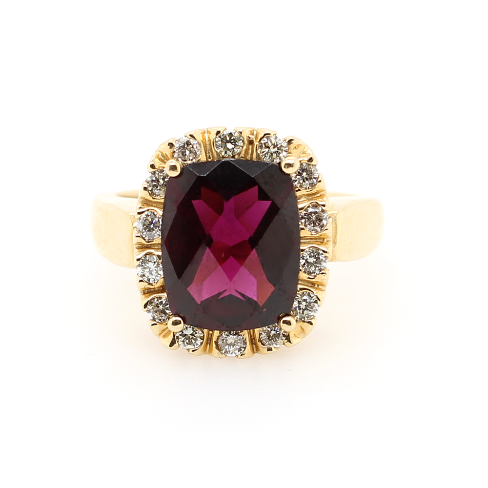 Ryan Gems 14 Karat Yellow Gold Rhodolite Garnet and Diamond Ring