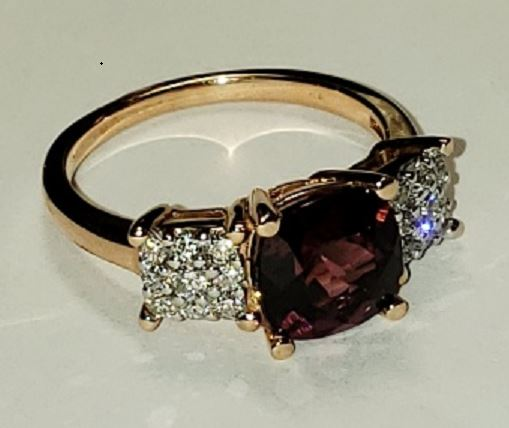 Ryan Gems 14 Karat Rose Gold Rhodolite Garnet Ring