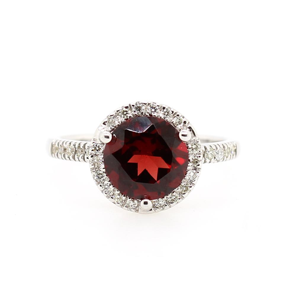 Ryan Gems 14 Karat White Gold Garnet and Diamond Ring