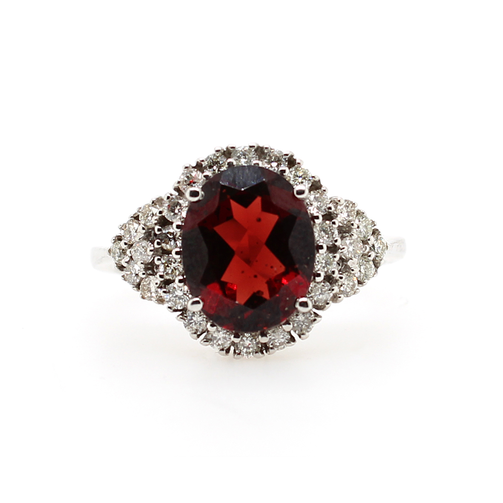 Ryan Gems 14 Karat White Gold Garnet and Diamond Ring