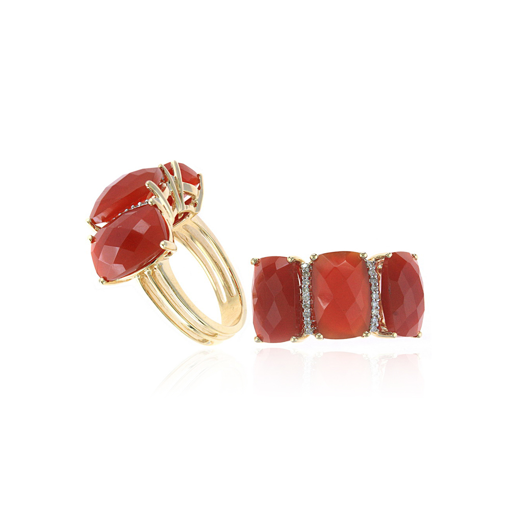 Ryan Gems 14 Karat Yellow Gold Red Agate and Diamond Ring