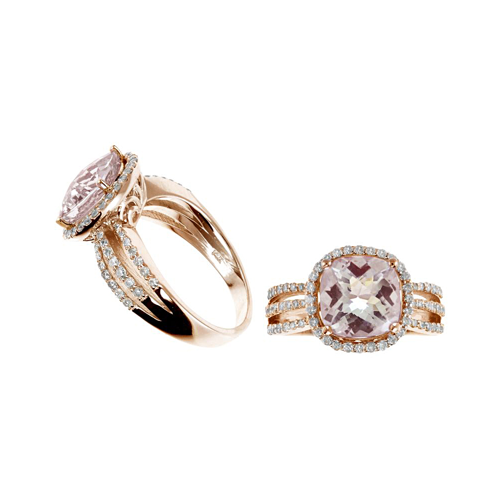 Ryan Gems 14 Karat Rose Gold Morganite and Diamond Ring