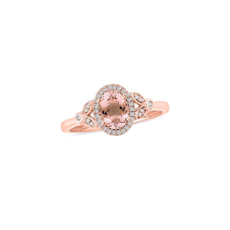 14 Karat Rose Gold Morganite and Diamond Fashion Ring