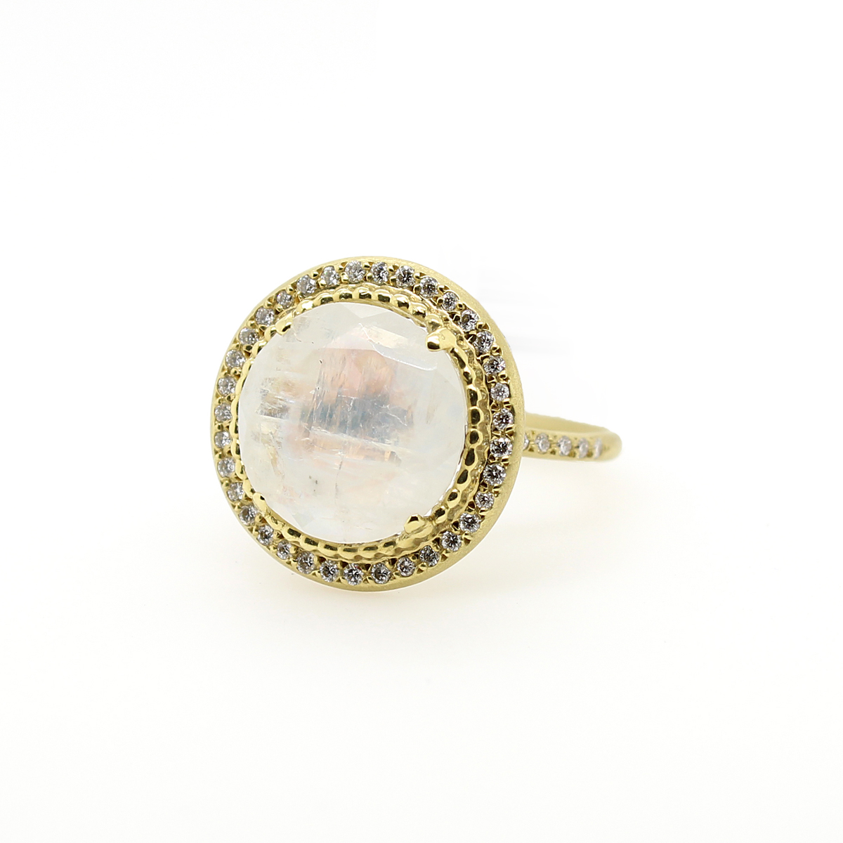 Lauren K 18 Karat Yellow Gold Moonstone and Diamond Isabella Ring