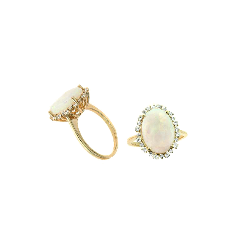Ryan Gems 14 Karat Yellow Gold Opal and Diamond Ring