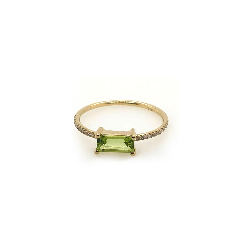 14 Karat Yellow Gold Peridot and Diamond Bar Ring