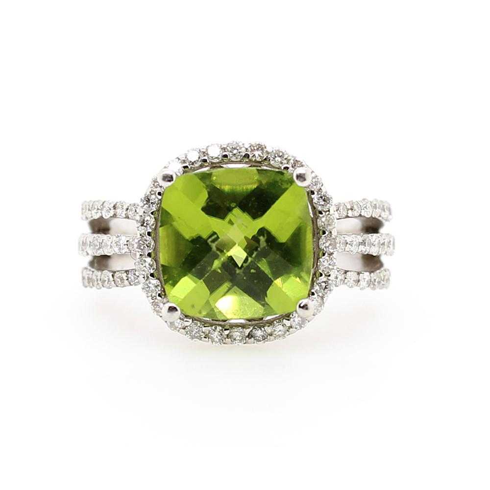 Ryan Gems 14 Karat White Gold Peridot and Diamond Ring