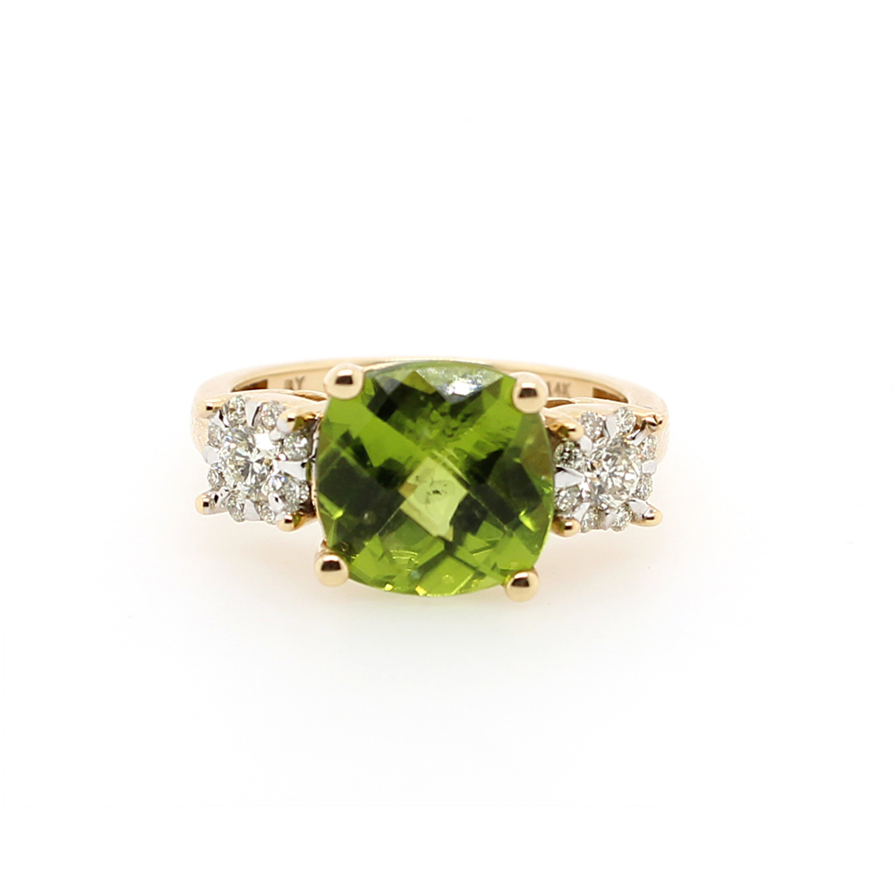 Ryan Gems 14 Karat Yellow Gold Peridot and Diamond Ring