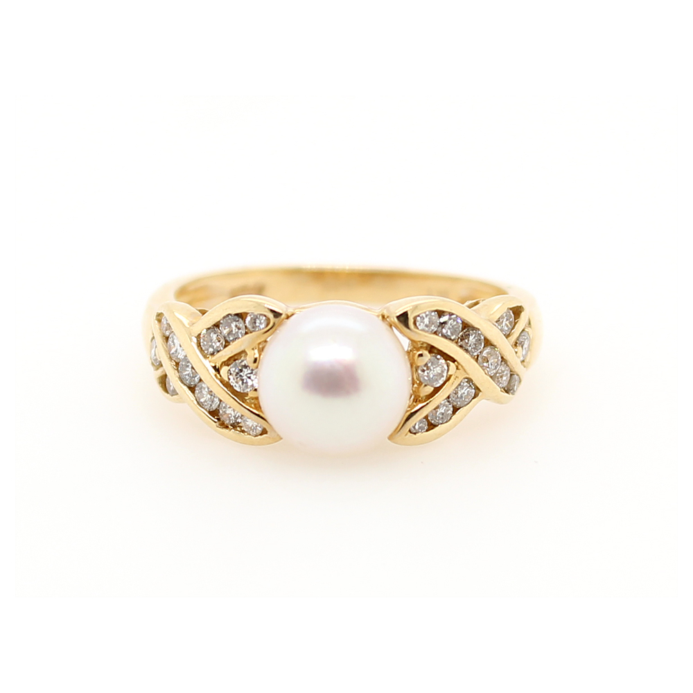 Ryan Gems 14 Karat Yellow Gold Pearl and Diamond Ring