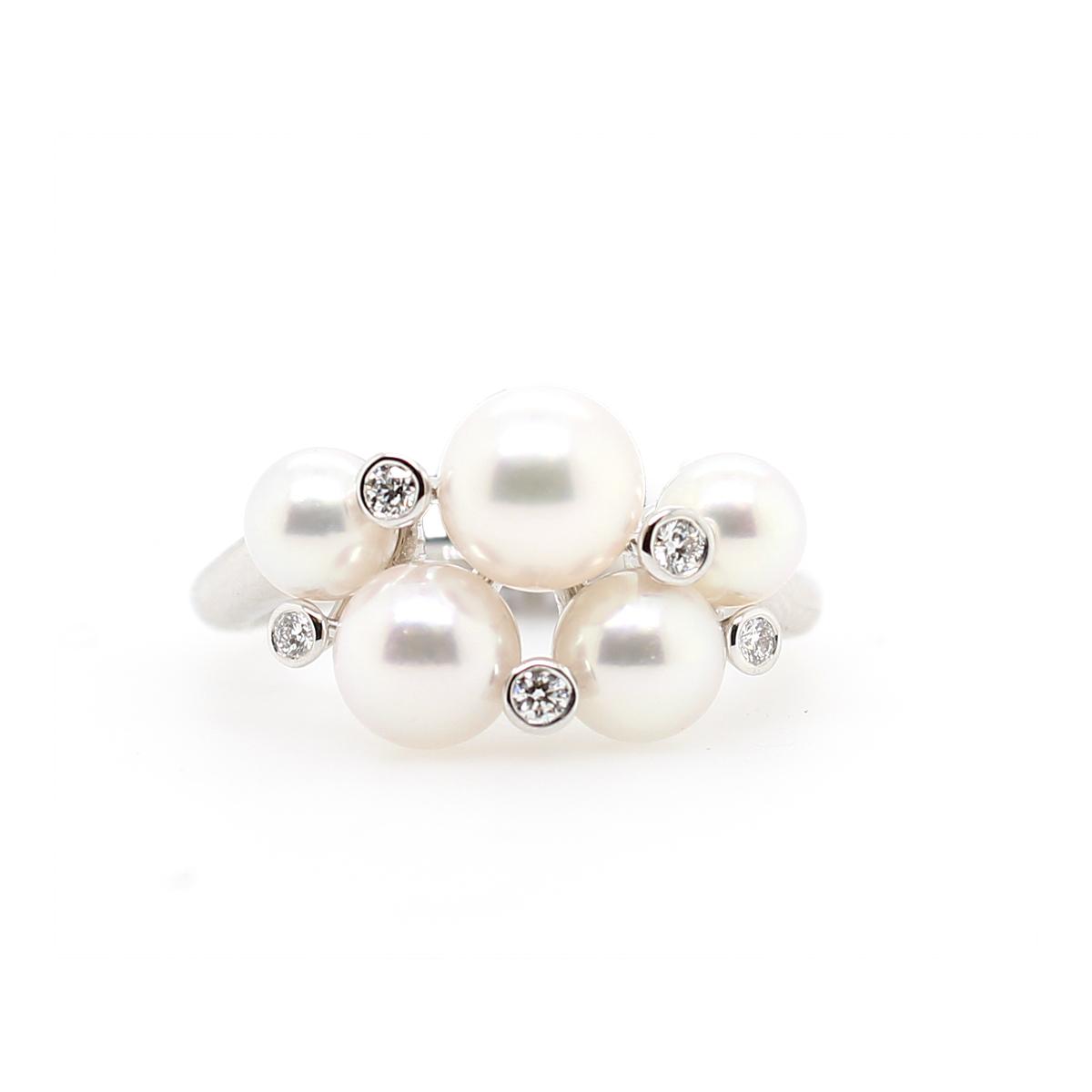 Mikimoto 18 Karat White Gold Pearl and Diamond Cluster Ring