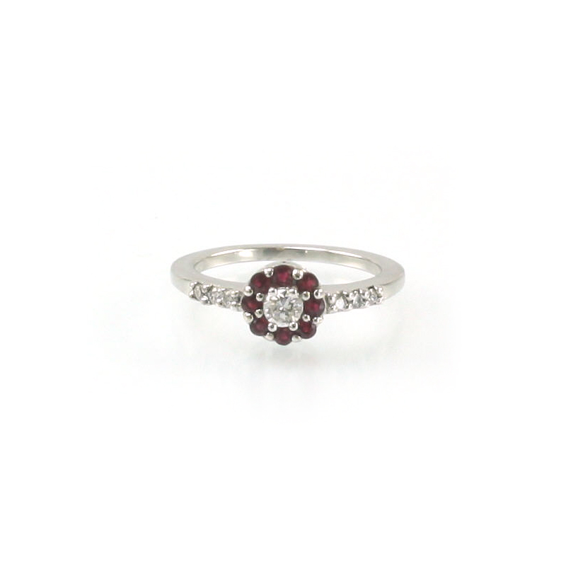 14 Karat White Gold Round Ruby and Diamond Ring
