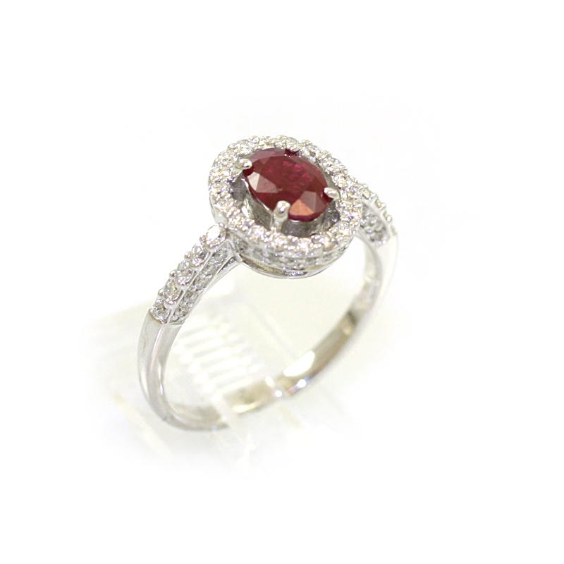 14 Karat White Gold Diamond and Oval Ruby Ring