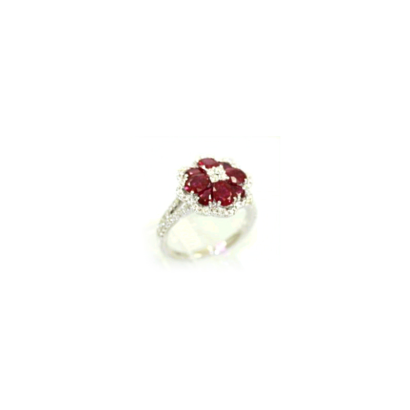 18 Karat White Gold Flower Shaped Ruby and Diamond Ring