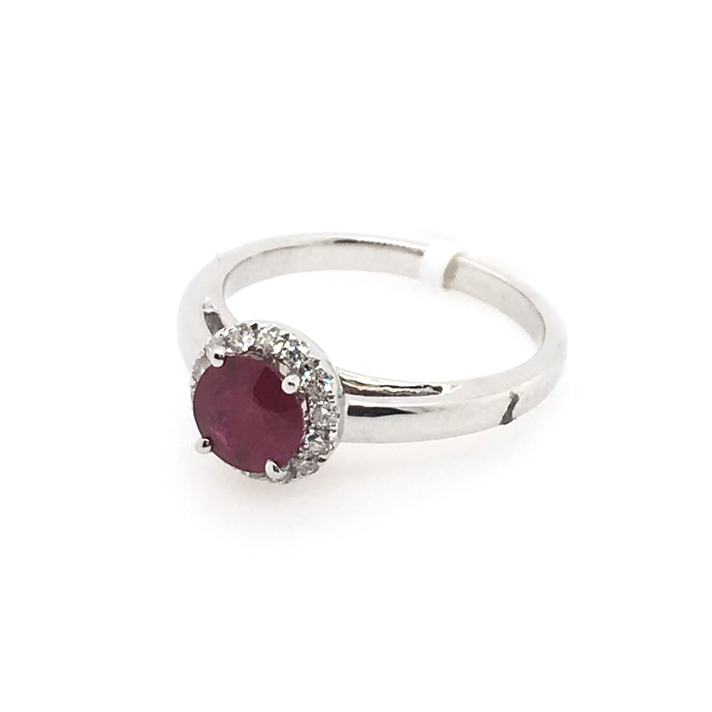18 Karat White Gold Round Ruby and Diamond Ring