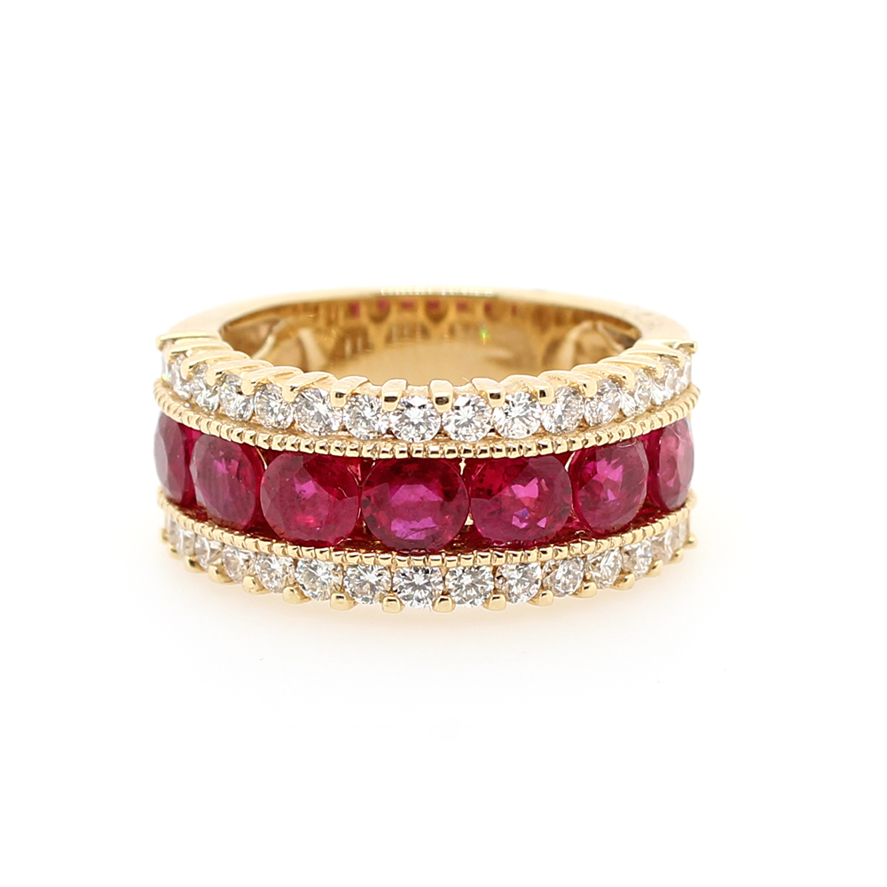 Ryan Gems 14 Karat Yellow Gold Ruby and Diamond Ring