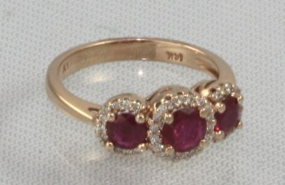 Ryan Gems 14 Karat Rose Gold Three Across Ruby and Diamond Ring