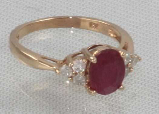 Ryan Gems 14 Karat Rose Gold Ruby and Diamond Ring