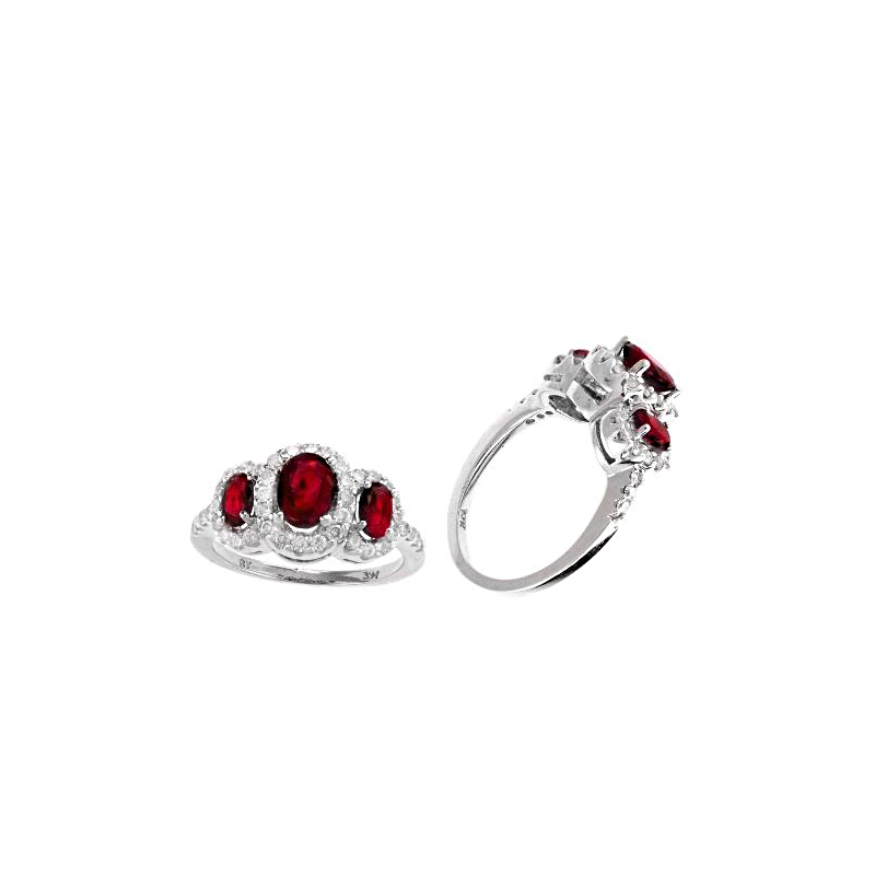 Ryan Gems 14 Karat White Gold Three Across Ruby and Diamond Ring