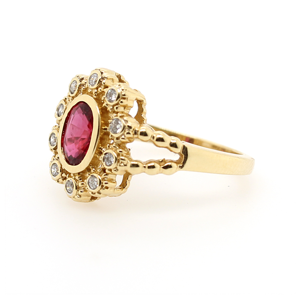 Ryan Gems 14 Karat Yellow Gold Ruby and Diamond Flower Ring