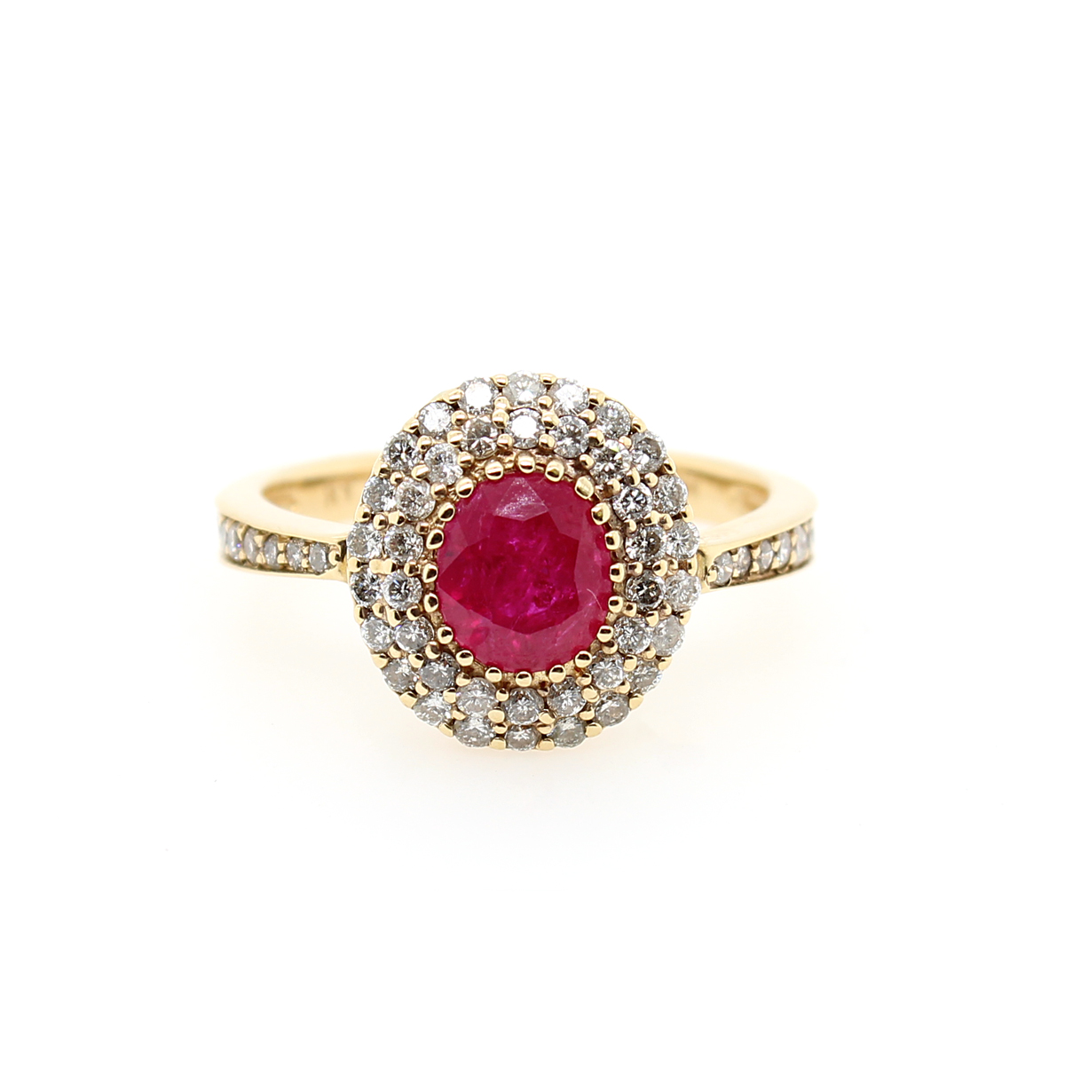 Ryan Gems 14 Karat Yellow Gold Oval Ruby and Diamond Ring