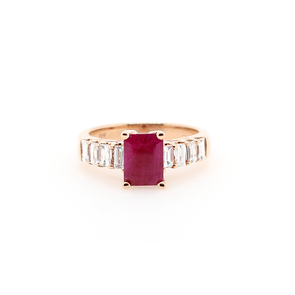 Ryan Gems 14 Karat Rose Gold Emerald Cut Ruby and Diamond Ring