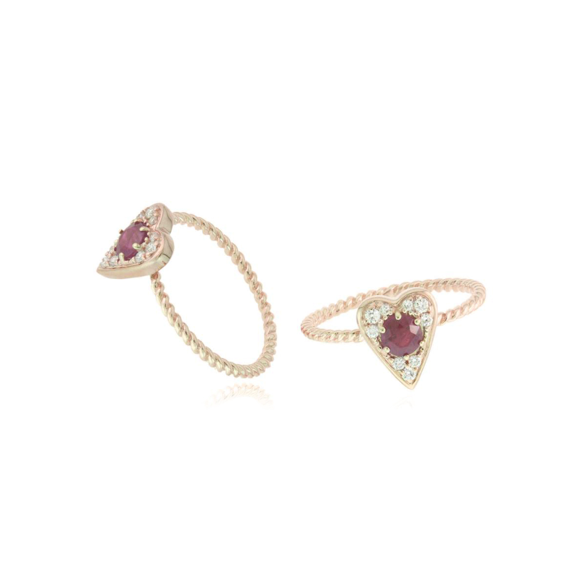 14 Karat Rose Gold Ruby and Diamond Heart Shaped Ring