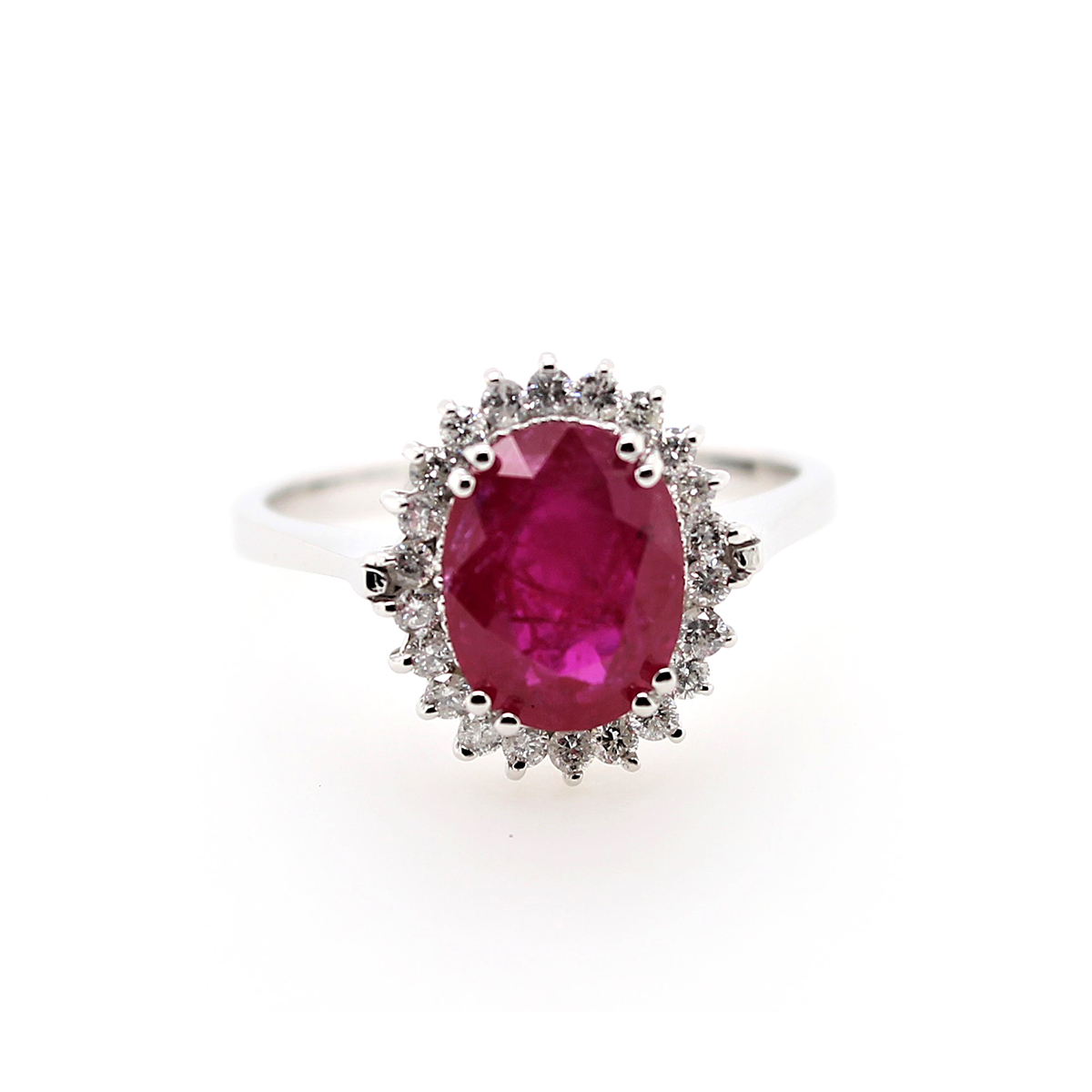14 Karat White Gold Oval Ruby and Diamond Ring