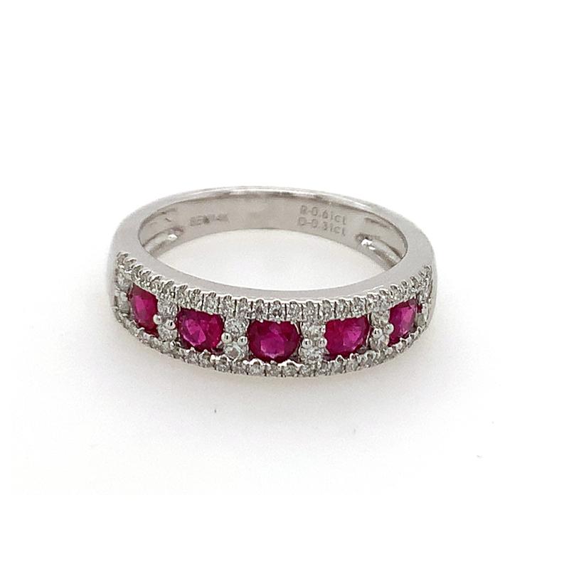 14 Karat White Gold Five Ruby and Diamond Ring