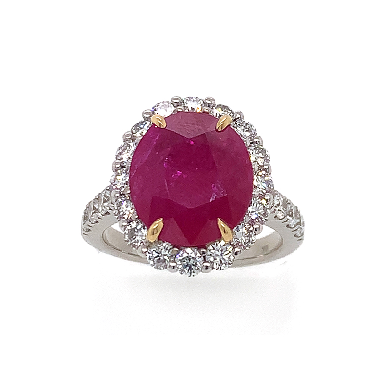 18 Karat White Gold GIA Certified Oval Ruby and Diamond Ring