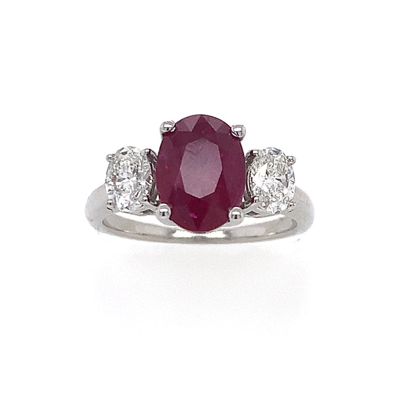 18 Karat White Gold Oval Ruby and Diamond Ring