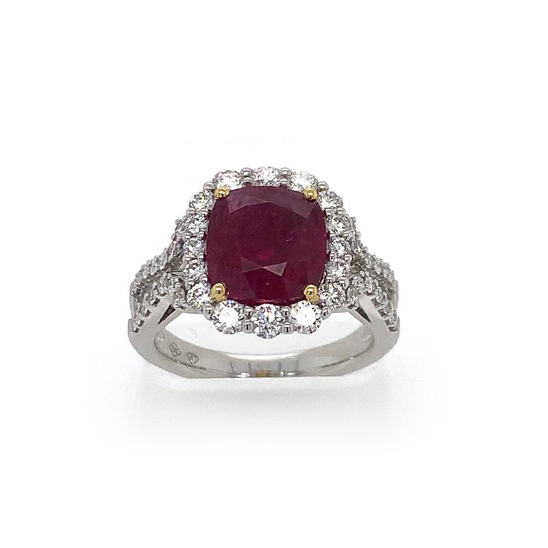 18 Karat White Gold GIA Certified Cushion Cut Ruby and Diamond Ring