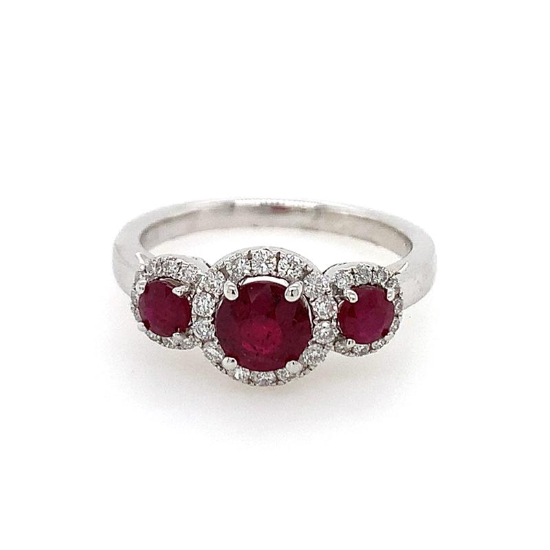 18 Karat White Gold 3-Across Ruby and Diamond Ring