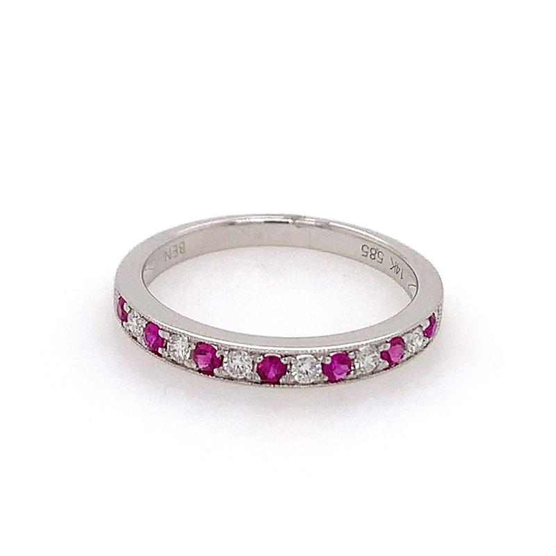 14 Karat White Gold Ruby and Diamond Millgrain Ring
