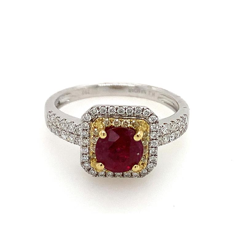 18 Karat White Gold Ruby, Natural Fancy Yellow and White Diamond Ring