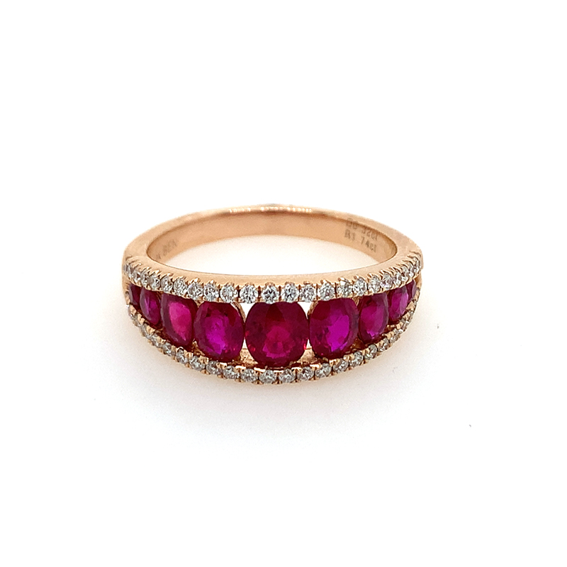 14 Karat Rose Gold Oval Ruby and Diamond Channel Set Band