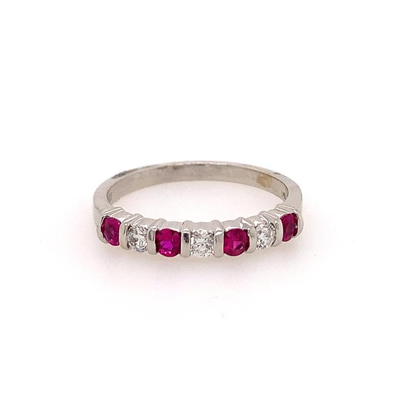 14 Karat White Gold Ruby and Diamond Bar Set Ring