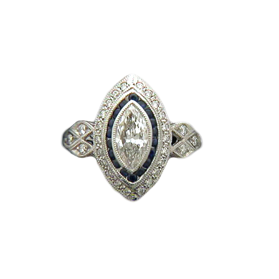 Platinum Antique Reproduction Sapphire and Diamond Ring