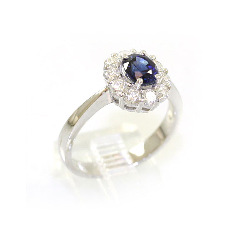 14 Karat White Gold Diamond and Oval Sapphire Ring