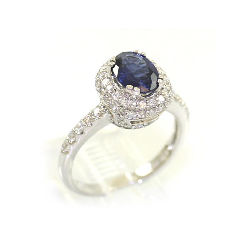 14 Karat White Gold Oval Blue Sapphire Ring