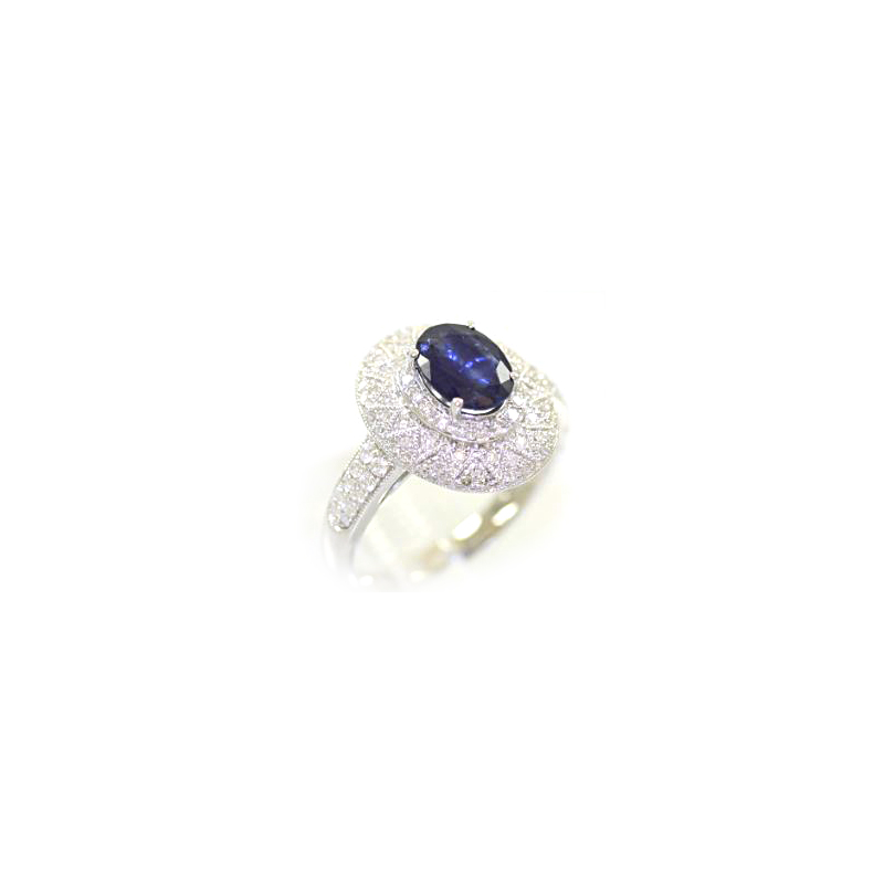 14 Karat White Gold Oval Sapphire and Diamond Ring