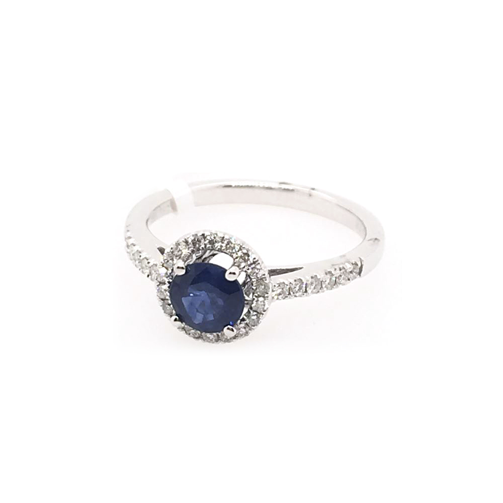 18 Karat White Gold Round Blue Sapphire and Diamond Halo Ring