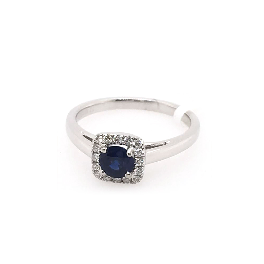 18 Karat White Gold Round Blue Sapphire and Diamond Ring