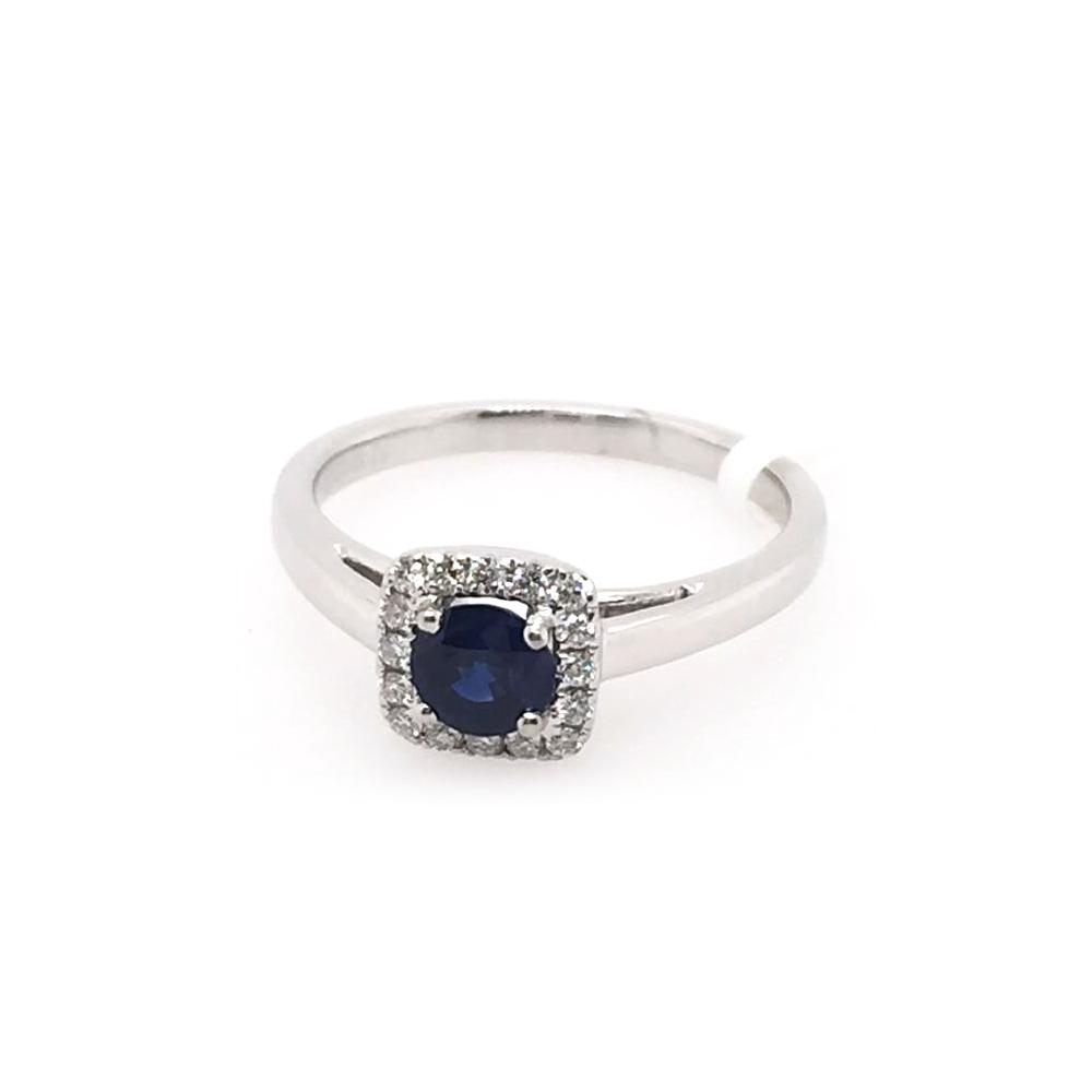 18 Karat White Gold Round Blue Sapphire and Diamond Ring