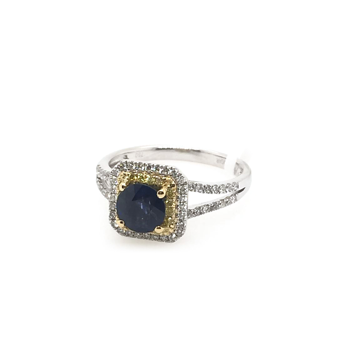 18 Karat White Gold Blue Sapphire, Fancy Yellow and White Diamond Ring