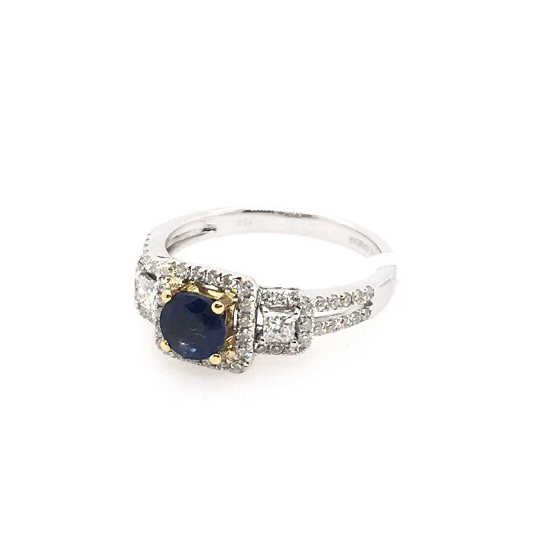 18 Karat White Gold Blue Sapphire and Diamond Ring