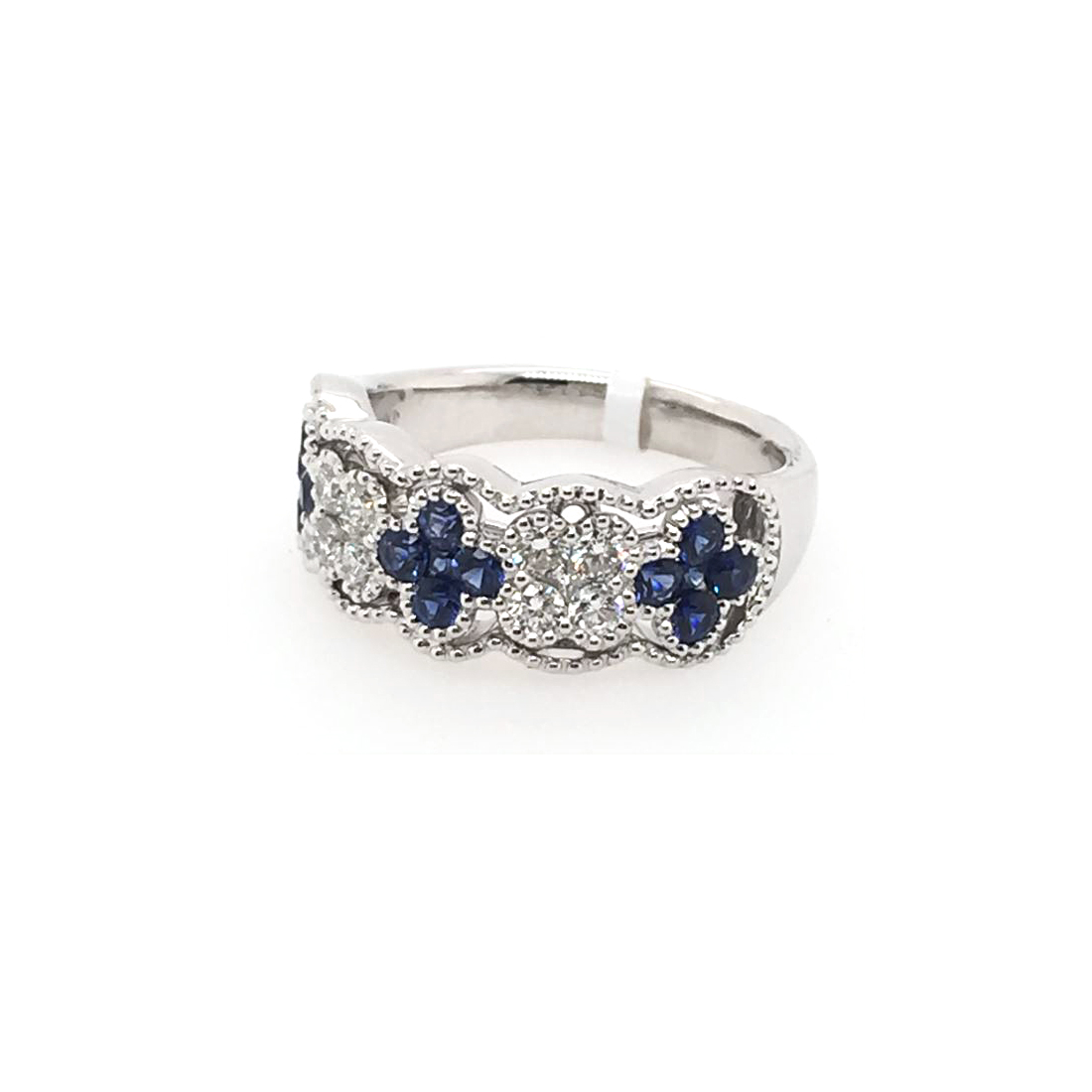 14 Karat White Gold Blue Sapphire and Diamond Ring