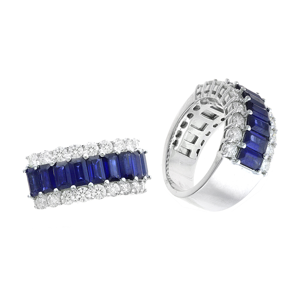 Ryan Gems 14 Karat White Gold Blue Sapphire and Diamond Ring