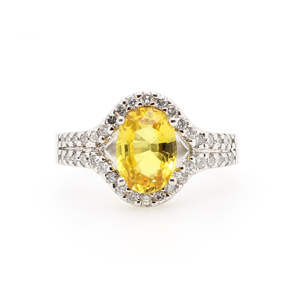 Ryan Gems 14 Karat Yellow Sapphire and Diamond Ring